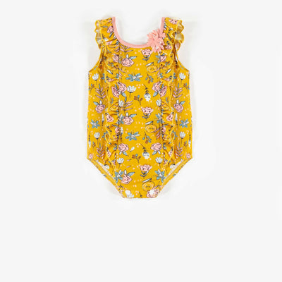 Maillot une-pièce floral jaune, bébé fille || Yellow Floral One-piece Swimsuit, Baby Girl