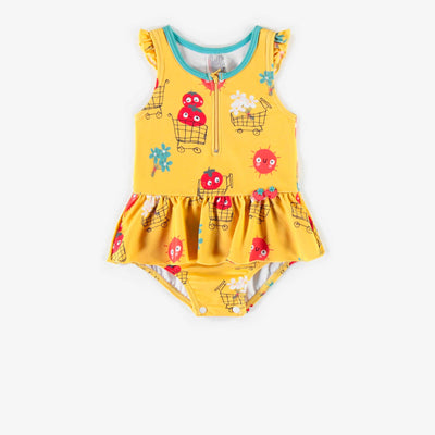 Maillot une-pièce jaune à motif, bébé fille || Yellow patterned One-piece Swimsuit, baby girl
