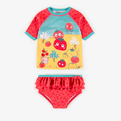 Maillot deux-pièces rouge à motifs, bébé fille || Red patterned two-pieces Swimsuit, baby girl