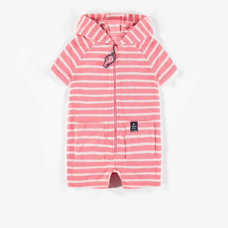 Sortie de bain en ratine à rayures rose, bébé fille || Pink Striped Terry Bathrobe, Baby Girl