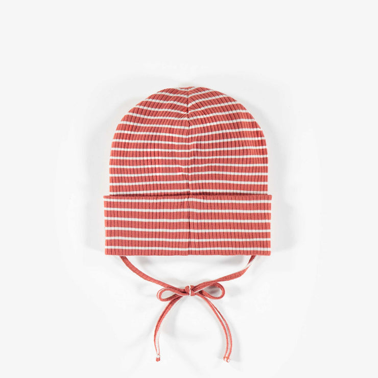 Tuque brune lignée en coton biologique || Brown striped organic cotton Toque