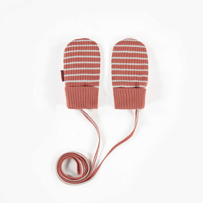 Mitaines brunes lignées en coton biologique || Brown striped organic cotton Mittens