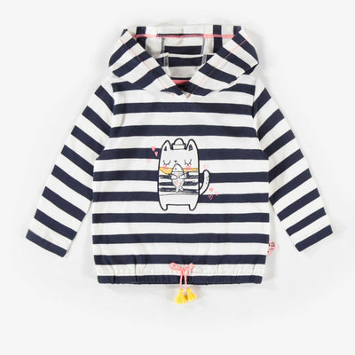 T-shirt rayé à capuchon à manches longues  || Stripped Long-Sleeve Hooded T-Shirt