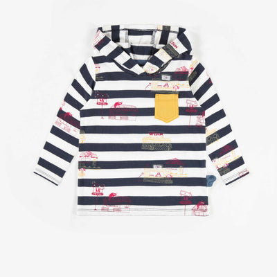 T-shirt rayé à capuchon, bébé garçon || Hooded Stripped T-shirt, Baby Boy