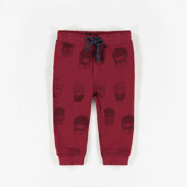 Pantalon de coton ouaté rouge à motifs, bébé garçon || Red Patterned Knit Cotton Pants, Baby Boy