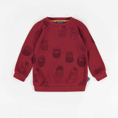 Chandail rouge à motifs, bébé garçon || Red Patterned Sweater, Baby Boy