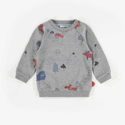 Chandail gris à motifs, bébé garçon || Grey Patterned Sweater, Baby Boy