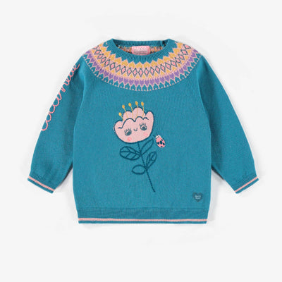 Chandail aqua à motif de maille, bébé fille || Aqua patterned Knit Sweater, baby girl