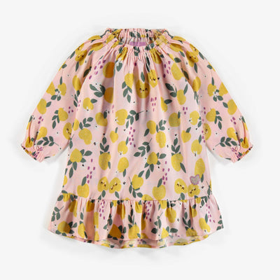 Robe rose à motifs, bébé fille || Poplin Dress