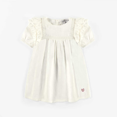 Robe tunique ivoire, bébé fille || Ivory tunic dress, baby girl