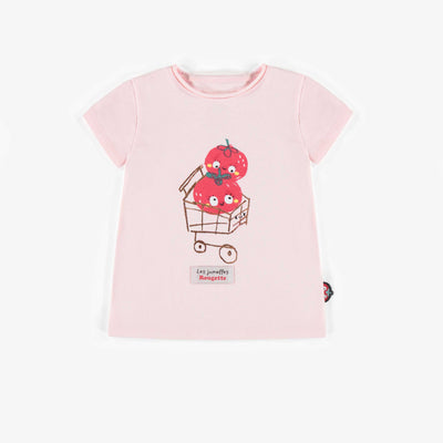 T-shirt rose avec illustration, bébé fille || Pink T-shirt with illustration, baby girl