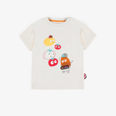 T-shirt crème avec illustration, bébé garçon || Cream T-shirt with illustration, baby boy