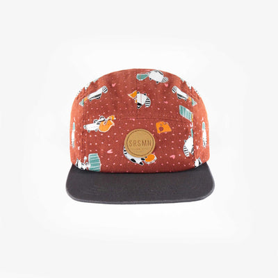 Casquette brune à motifs, bébé fille || Brown patterned cap, baby girl