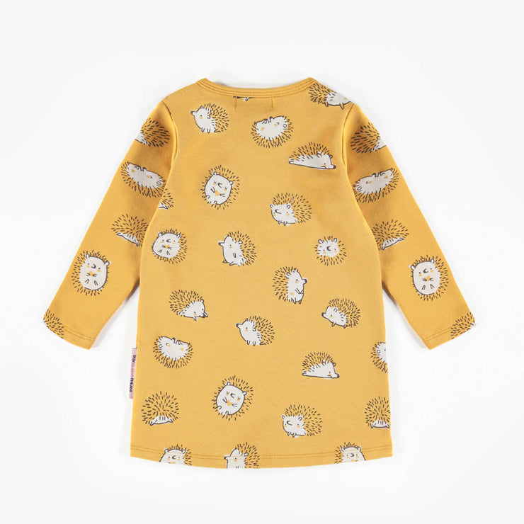 Robe jaune à motifs à manches longues, bébé fille  || Yellow Patterned Long-Sleeve Dress, Baby Girl