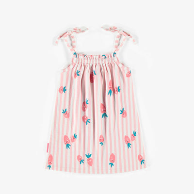 Robe lignée rose à motifs, bébé fille || Pink patterned Dress, baby girl