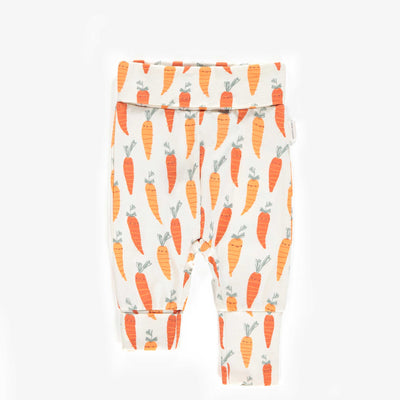 Pantalon évolutif orange à motifs de carottes, nouveau-né unisexe || Orange adjustable pants with carrot patterns, new-born unisex