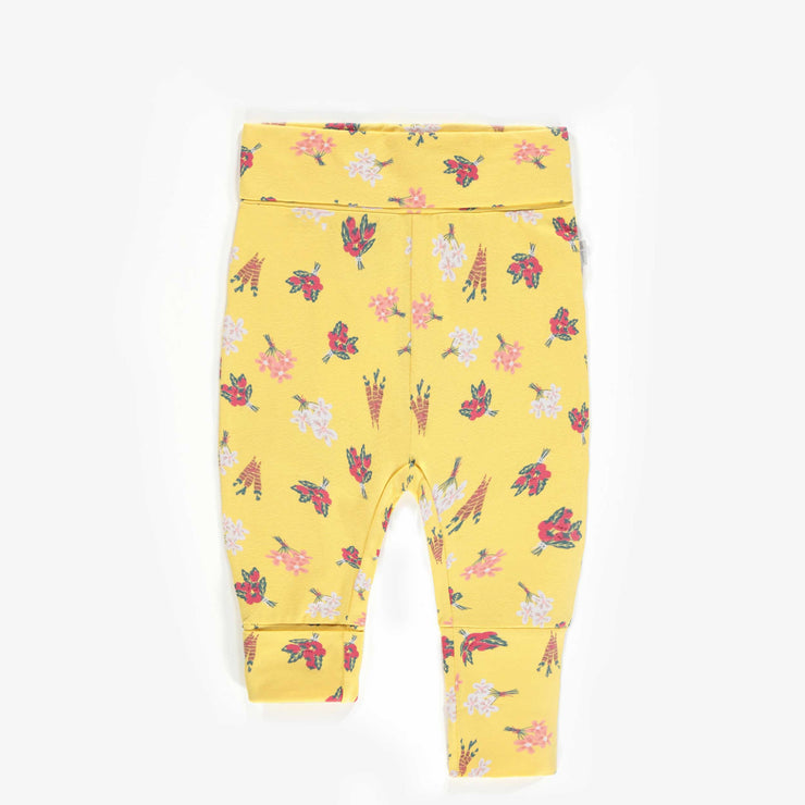 Pantalon évolutif jaune à motifs de tomates, nouveau-né fille || Yellow adjustable pants with tomato patterns, new-born girl