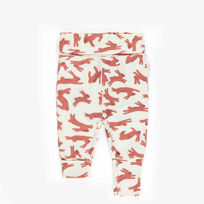 Pantalon évolutif à motifs de lapins, nouveau-né unisexe || Adjustable pants with rabbit patterns, new-born unisex