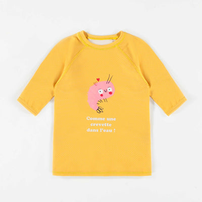 T-shirt de bain jaune à manches courtes, fille || Yellow Short-sleeve Swim T-shirt, Girl