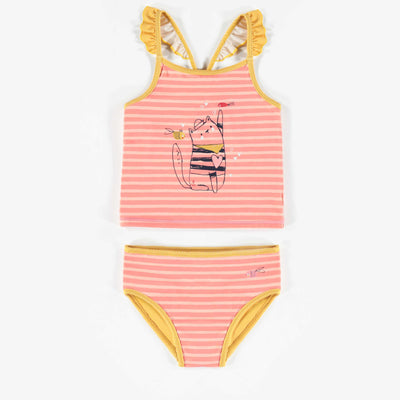 Maillot tankini rose et jaune, fille || Pink and Yellow Tankini Swimsuit, Girl