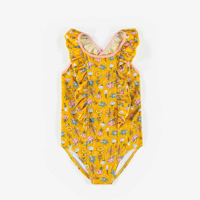 Maillot une-pièce floral jaune, fille || Yellow Floral One-piece Swimsuit, Girl