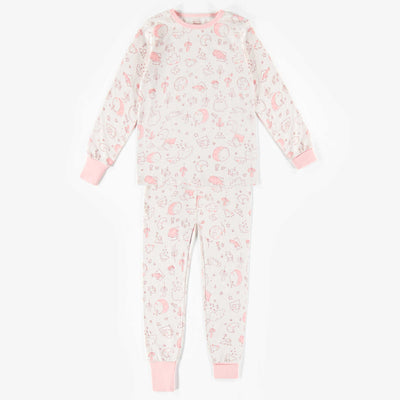 Pyjama deux-pièces blanc à motifs – coton organique || White patterned Two-piece Pajamas – Organic cotton