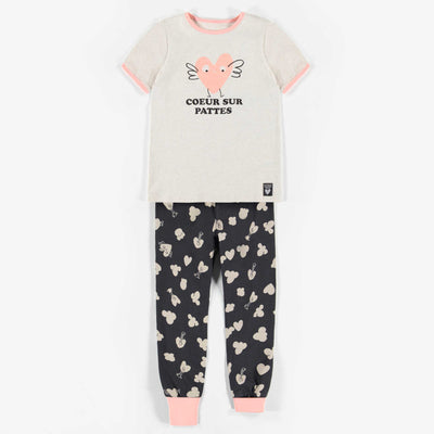 Pyjama noir et gris deux-pièces manche courte, fille || Black and white two-pieces Pajamas with short-sleeve, girl