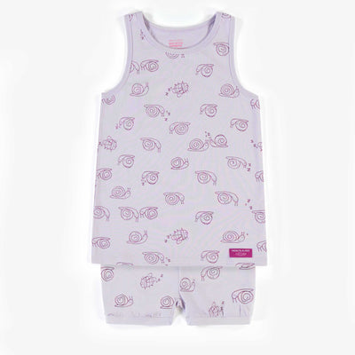 Pyjama deux-pièces mauve à motifs d'escargots, enfant fille || Two-piece Pajama with snail patterns, child girl