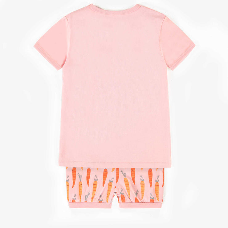Pyjama rose deux-pièces à manche et culotte courtes, enfant fille || Pink two-piece short-sleeve and short pants pajama, child girl