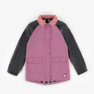 Manteau mauve avec collet, enfant fille || Mauve Coat with collar, child girl