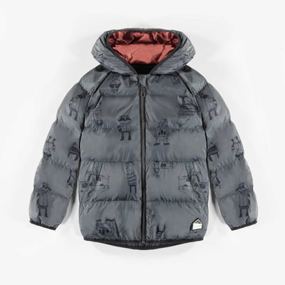 Doudoune grise à motifs || Grey patterned Teal Puffer