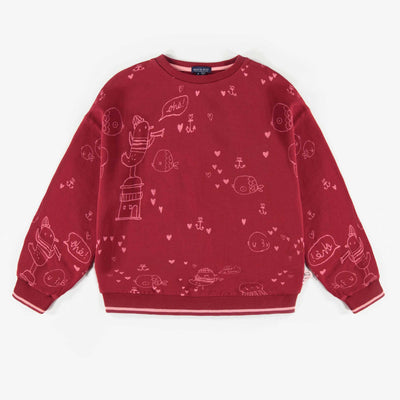 Chandail rouge à motifs, enfant fille  || Red Pattern Sweater, Girl