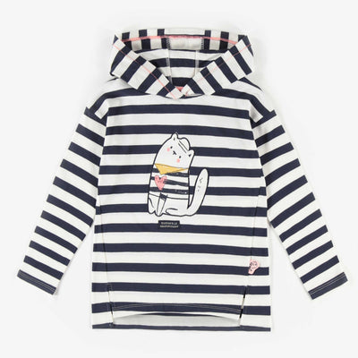 T-shirt à manches longues rayé à capuchon, enfant fille 