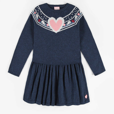 Robe en maille bleue, enfant fille  || Blue Knit Dress, Girl