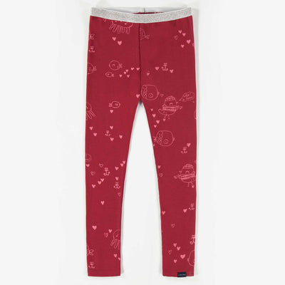 Legging rouge à motifs, enfant fille  || Red Pattern Leggings, Girl