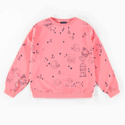 Chandail rose à motifs, enfant fille  || Pink Pattern Sweater, Girl