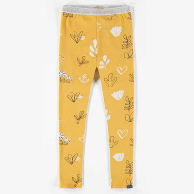 Legging jaune à motifs, enfant fille || Yellow Pattern Leggings, Girl