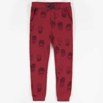 Pantalon de coton ouaté rouge à motifs, garçon || Red Patterned Knit Cotton Pants, Boy