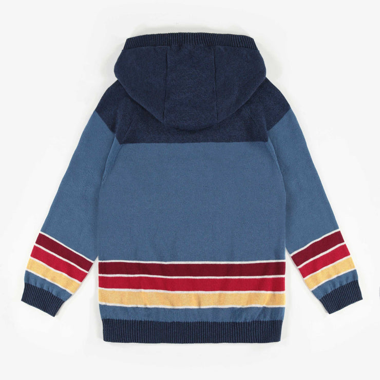 Chandail à capuchon bleu en maille, garçon || Blue Hooded Knit Sweater, Boy