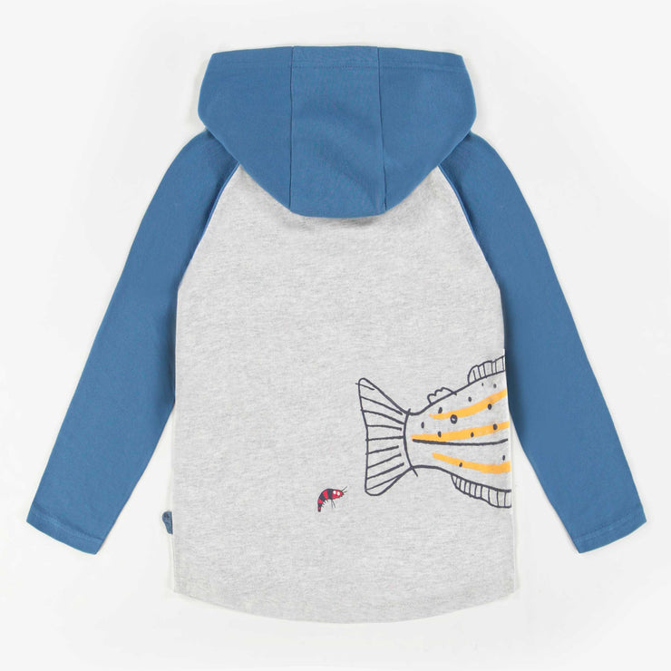 T-shirt bleu et gris à manches longues avec capuchon, garçon || Blue & Grey Hooded Patterned Long-Sleeve T-Shirt, Boy