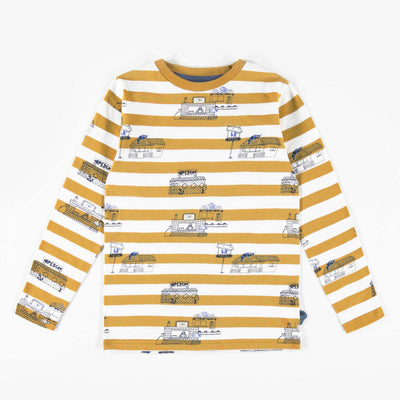 T-shirt ligné à motifs à manches longues, garçon || Striped patterned long-Sleeve T-shirt, Boy