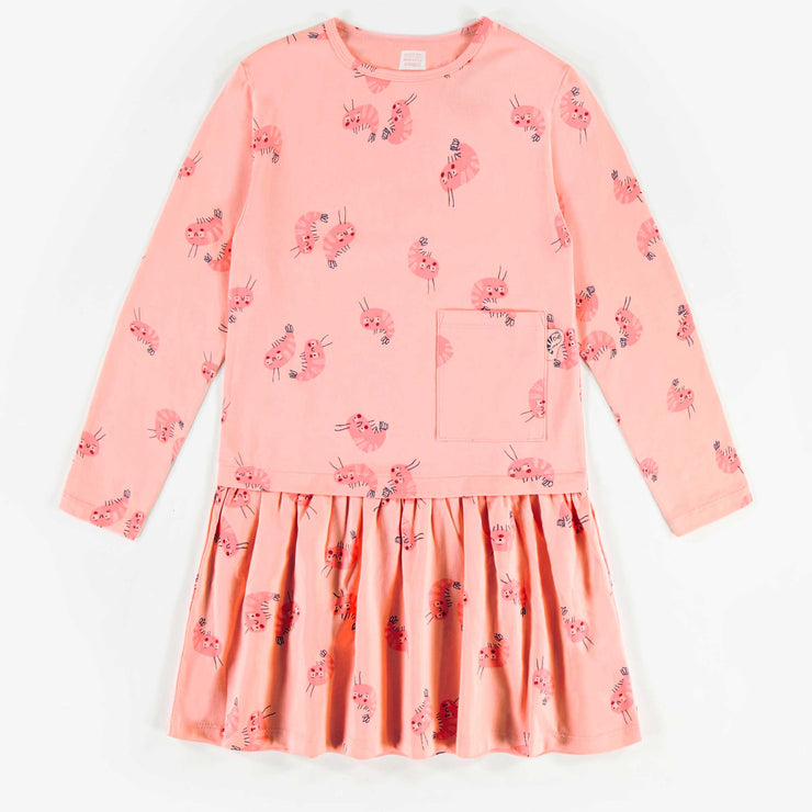 Robe rose à motifs, enfant fille 