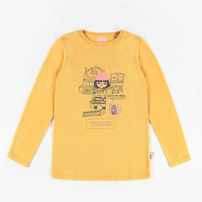 T-shirt jaune à manches longues, enfant fille  || Yellow Long-Sleeve T-shirt, Girl