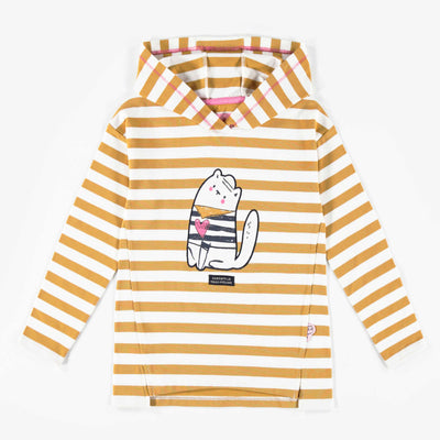 T-shirt jaune à capuchon, enfant fille || Yellow hooded T-shirt, Girl