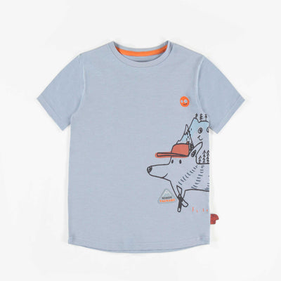 T-shirt bleu en Jersey extensible à motifs, garçon || Stretch Jersey Blue T-shirt with illustrations, Boy