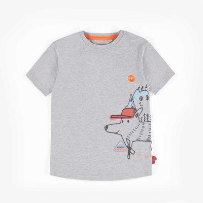 T-shirt gris en Jersey extensible avec illustration, garçon || Stretch Jersey grey T-shirt with illustrations, Boy