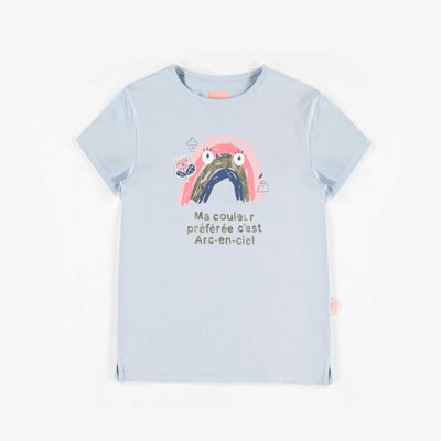 T-shirt à manches courtes bleu, enfant fille  || Blue Short-Sleeve T-shirt, Girl