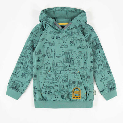 Chandail bleu à motifs avec capuchon, garçon || Blue Hooded Patterned Sweater, Boy