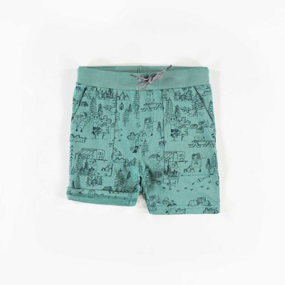 Short de jogging vert, garçon || Green Jogger Shorts, Boy