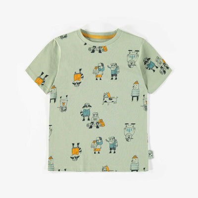 T-shirt vert à motifs, enfant garçon || Green patterned T-shirt, child boy